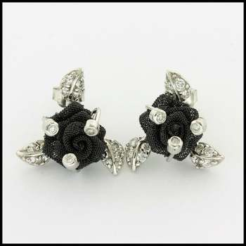 .925 Sterling Silver & White Gold Plated,  0.15ctw White Sapphire Flower Earrings