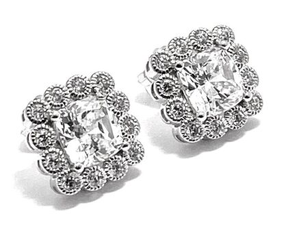 .925 Sterling Silver & White Gold Plated, 2.5ctw AAA Grade CZ's Stud Earrings