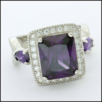 .925 Sterling Silver White Gold Plated, Amethyst Ring Size 8