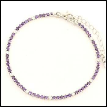 .925 Sterling Silver White Gold Plated Amethyst & White Sapphire Bracelet