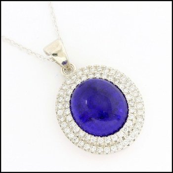 .925 Sterling Silver White Gold Plated Cabochon Cut  Blue & White Sapphire Necklace with Pendant