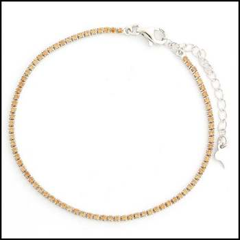 .925 Sterling Silver White Gold Plated Citrine Bracelet