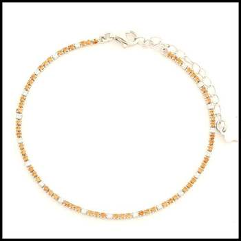 .925 Sterling Silver White Gold Plated Citrine & White Sapphire Bracelet