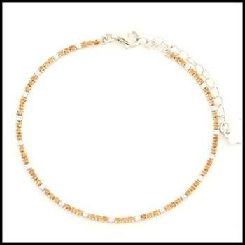 .925 Sterling Silver White Gold Plated Citrine & White Sapphire Bracelet