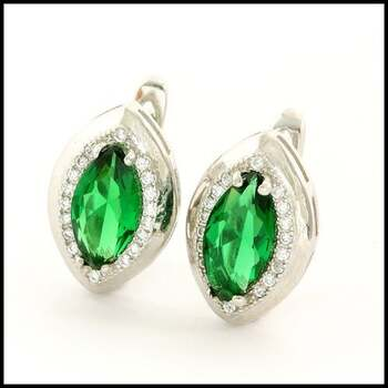 .925 Sterling Silver & White Gold Plated,  Emerald & White Sapphire Earrings