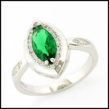 .925 Sterling Silver & White Gold Plated,  Emerald & White Sapphire Ring Size 7