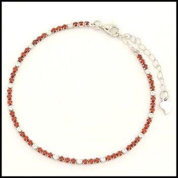 .925 Sterling Silver White Gold Plated Garnet & White Sapphire Bracelet