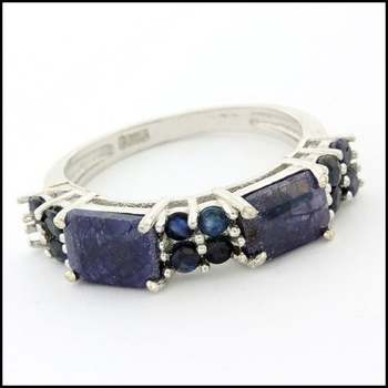 .925 Sterling Silver White Gold Plated, Genuine Diamond & Dyed Sapphire Ring Size 7.5
