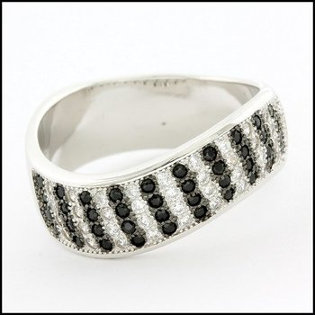 .925 Sterling Silver White Gold Plated Genuine White & Black Topaz Woman's Ring, Size 8.75