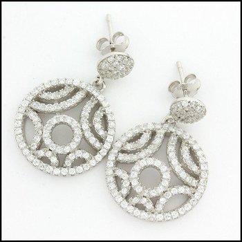 .925 Sterling Silver White Gold Plated Genuine White Topaz Earrings