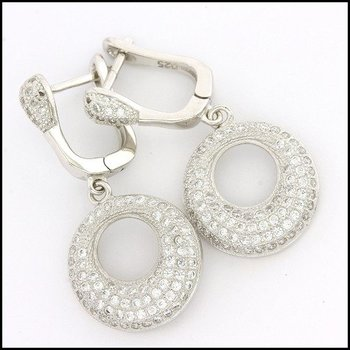 .925 Sterling Silver White Gold Plated Genuine White Topaz Earrings