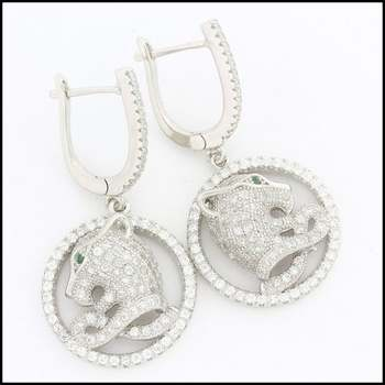 .925 Sterling Silver White Gold Plated Genuine White Topaz & Emerald Earrings