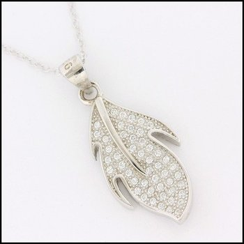 .925 Sterling Silver White Gold Plated Genuine White Topaz Necklace with Pendant