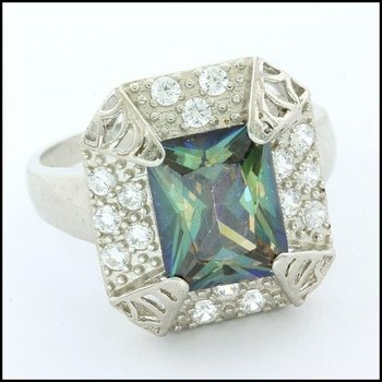 .925 Sterling Silver White Gold Plated, Mystic Topaz Ring Size 7.25