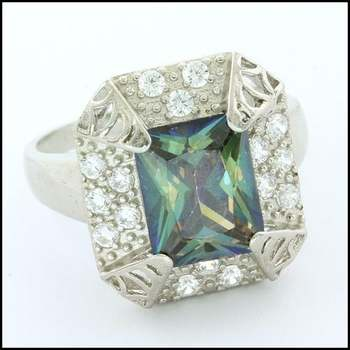 .925 Sterling Silver White Gold Plated, Mystic Topaz Ring Size 8