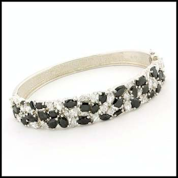.925 Sterling Silver & White Gold Plated, Onyx & White Topaz Bracelet