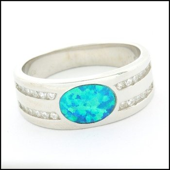 .925 Sterling Silver White Gold Plated, Opal & White Sapphire Ring Size 6