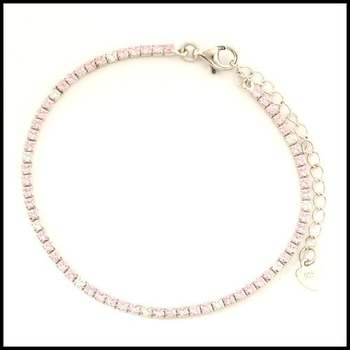 .925 Sterling Silver White Gold Plated Pink Sapphire & White Sapphire Bracelet