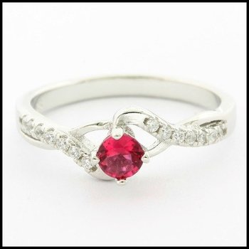 .925 Sterling Silver White Gold Plated Pink Sapphire & White Sapphire Woman's Ring, Size 6.5