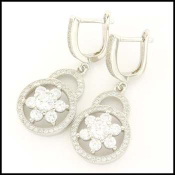 .925 Sterling Silver & White Gold Plated,  White Sapphire Earrings
