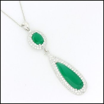 .925 Sterling Silver White Gold Plated White Sapphire & Emerald Necklace with Pendant