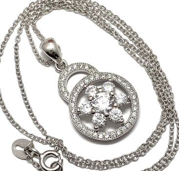 .925 Sterling Silver & White Gold Plated,  White Sapphire Necklace