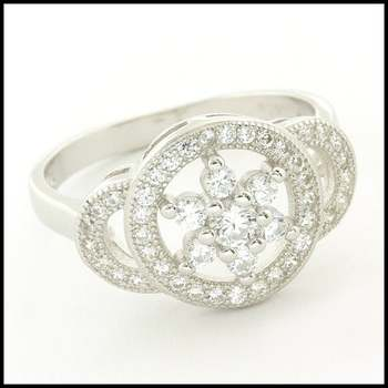 .925 Sterling Silver & White Gold Plated,  White Sapphire Ring Size 6
