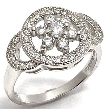 .925 Sterling Silver & White Gold Plated, White Sapphire Ring Size 7