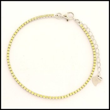 .925 Sterling Silver White Gold Plated Yellow Topaz Bracelet