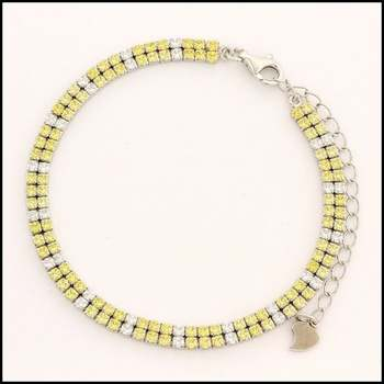 .925 Sterling Silver White Gold Plated Yellow Topaz & White Sapphire Bracelet