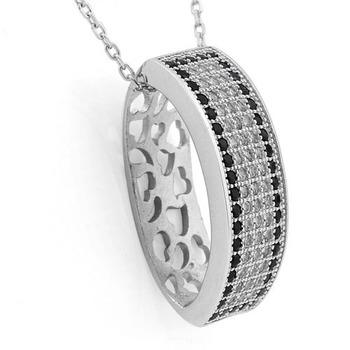 925 Sterling Silver, White Topaz & AAA Grade Black CZ Necklace