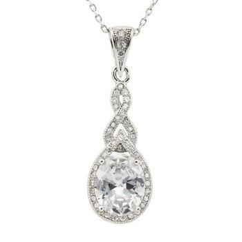 925 Sterling Silver & White Topaz Designer Samuelle And Co. Necklace