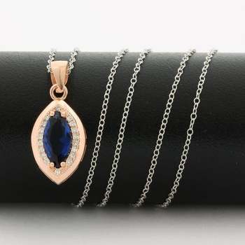 .925 Sterling Silver & White&Rose Gold Plated,  Blue & White Sapphire Necklace