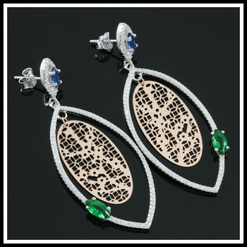 .925 Sterling Silver with 18k White & Rose Gold, 4.25ctw Emerald, Blue & White Sapphire Earrings