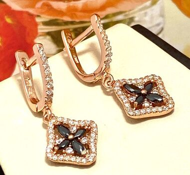 .925 Sterling Silver with Rose Gold Overlay Black & White Sapphire Earrings