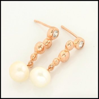.925 Sterling Silver with Rose Gold Overlay Genuine Pearls Earrings