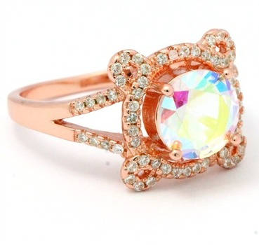 .925 Sterling Silver with Rose Gold Overlay, Mystic Topaz  Ring  size 8