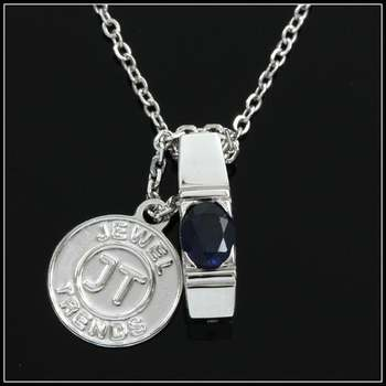 .925 Sterling Silver with White Gold Overlay Created Blue Sapphire Necklace