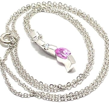 .925 Sterling Silver with White Gold Overlay Cubic Zirconia Necklace