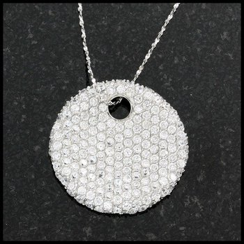 .925 Sterling Silver with White Topaz Circular Necklace
