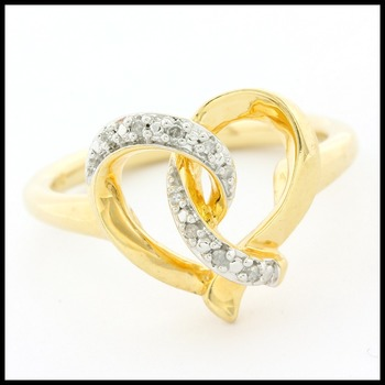 .925 Sterling Silver & Yellow Gold Overlay 0.10ctw Genuine Diamond Heart Ring Size 7
