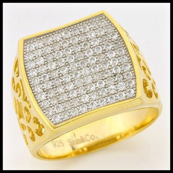 .925 Sterling Silver & Yellow Gold Overlay 0.45ctw (AAA Grade) CZ's Ring size 7