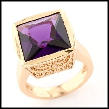 .925 Sterling Silver & Yellow Gold Overlay Purple Quartz Ring Size 6