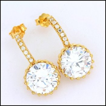 .925 Sterling Silver Yellow Gold Plated Genuine White Topaz Earrings