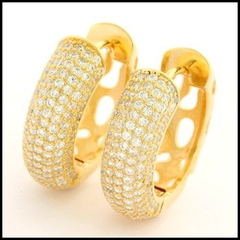 .925 Sterling Silver Yellow Gold Plated Genuine White Topaz Hoop Earrings