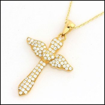.925 Sterling Silver Yellow Gold Plated Genuine White Topaz Necklace with Cross Pendant