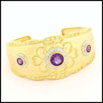 .925 Sterling Silver & Yellow&White Gold Plated, Amethyst & White Topaz Bracelet