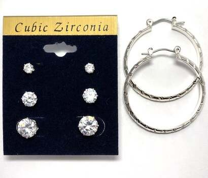 9.25ctw AAA Grade CZ's Lot of Hoop Earrings & 3 Pair of Stud Earrings