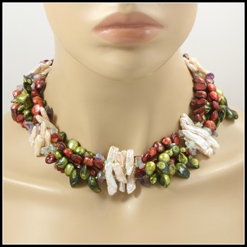 970.1ctw 4 String Genuine Mother of Pearl, Multicolor Pearls, Amethyst, Blue Topaz Necklace with 925 Sterling Silver Clasp