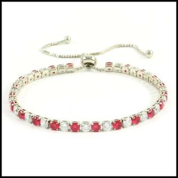 9.89ctw Ruby & White Sapphire Adjustable Bracelet